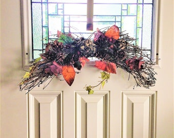 Pinecone Swag, Fall Swag Wreath, Door Wreath Swag, Fall Swag, Door Swag, Floral Swag, Rustic Swag, Housewarming Gift, Red Swag, Family Gift