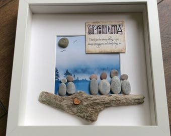 Pebble Art Grandmother picture, Mother's Day gift, gift for her, grandmother gift, grandchildren, unique gift, unique art