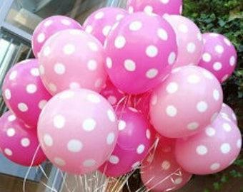 Pink Polka Dot Balloons, Pretty Pink Polka Dot Balloons, Polka Dots, Pink Polka Dots Mix Pkt 12