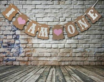 I am one bunting, first birthday girl banner, first birthday decoration. Pkt of 1