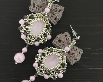 Beaded Earrings, bow earrings, crystal earrings, lace earrings, pink earrings