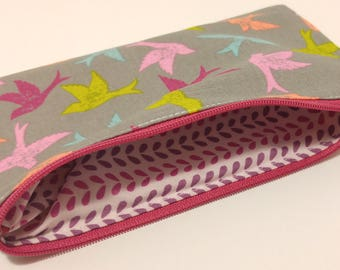 Colorful Birds Novelty Zipper Pouch - makeup bag; pencil case; gift for her; cosmetic bag; carry all; gadget case; SCENTED FABRIC LINING