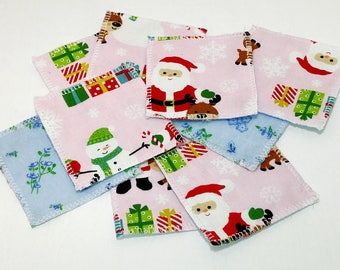 9 Reusable Cotton Wipe Alternative Pads - eco-friendly; 3 inch pads; cleansing pads; facial rounds; flannel, Christmas Theme