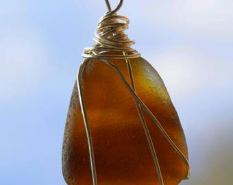 Amber seaglass, wire wrapped necklace