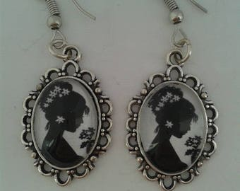 Victorian Cameo Lady Silhouette Drop Earrings