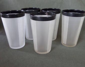 5 Vintage Frosted  Juice Glasses with Black Rims & White Pinstripes