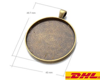 Bulk SALE-200PCS 38MM Circle Pendant Trays Blanks-DHL EXPRESS-Leave your mobile phone number-Choice of 3 Color-Silver-Bronze-Antique Silver