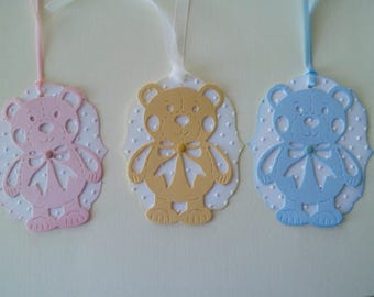 Custom Baby Girl Baby Boy Gift Tags, Handmade Baby Tags, Tags Package of 6, Gift Tags for Baby, Baby Gift Tags in optionsl colors, Teddy Tag