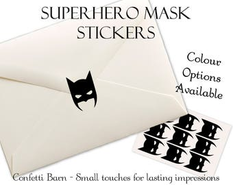 Superhero Mask Stickers - Kids Party - Removable Vinyl - Party Invitations - Envelope Sealing Stickers - Planner Stickers #83