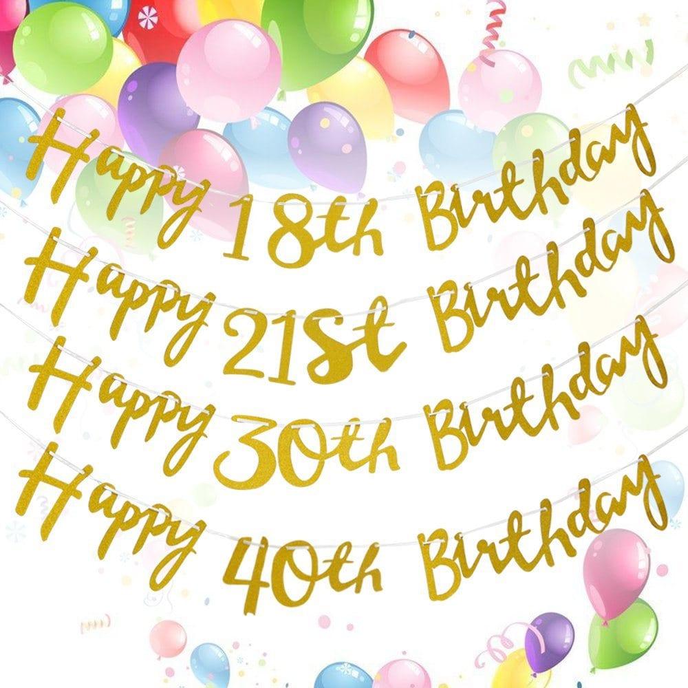 1.5M Gold Happy Birthday Milestone 18th 21st 30th 40th Bunting