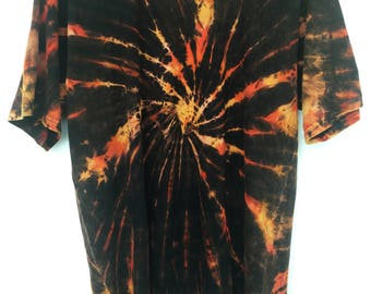 Large 'Fire Spiral' Tie-Dye Cotton Shirt, Handmade in Nepal