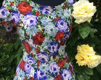 Floral Fifties Cotton Twill Flared Dress in Vibrant Summer Colours...