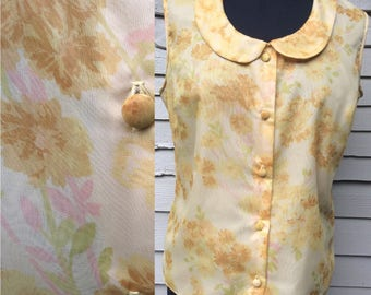 Vintage 1960's Golden Yellow Floral Sleeveless Top. UK Size 14 Vintage Sixties 60's