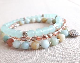 MultiStrand Amazonite Bracelet, Boho Chic Jewelry, Statement Jewelry, Amazonite Jewelry, Grad Jewelry, Summer Jewelry, Beach Jewelry