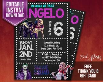 Harley Quinn invitation, Harley Quinn birthday invitation, Harley Quinn party invitation, Harley Quinn birthday, Harley Quinn, Joker