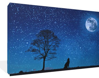 Large Silhouette Wolf In Blue Moonlight and Stars Canvas Print Wall Art Ready To Hang Or Poster Print