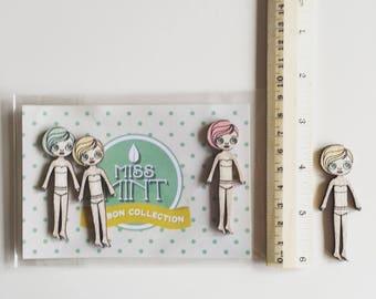 3 wooden mini Dolls