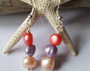 925 solid silver shepherd hook and genuine freshwater pearl beaded dangle earrings