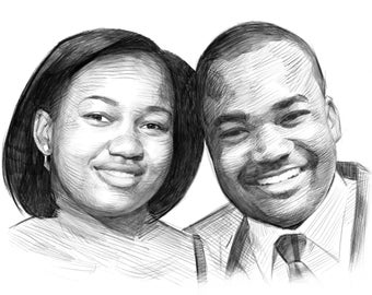 Custom Pencil Couple Portrait 8x10in