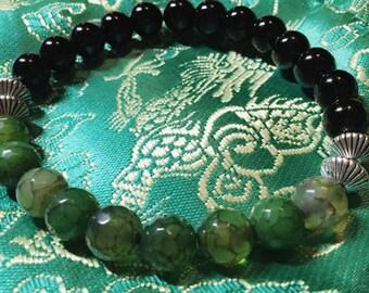 Onyx Dragons Viens Bohemian Boho beads Mala beads Beaded bracelet Jewelry Wealth Protection Healing Abundance Money Luck