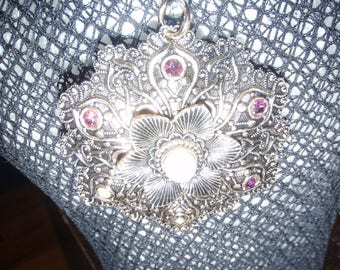 germany maker stamped silver and gold toned rhinestone filagree pattern large pendant and high quality necklace. vinatge