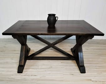 Farmhouse Dining Table, X Base Legs and Brace Trestle Table, Mortise and Tenon Breadboards, Solid Wood, Rustic Furniture