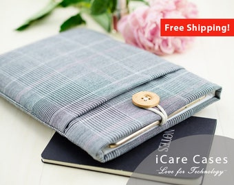 iPad Mini 2 Case iPad Mini Designer iPad Cases Case For iPad Mini 4 iPad Bag iPad Mini 4 Sleeve iPad Mini Case 2 Glen Plaid Wool Gray Pink