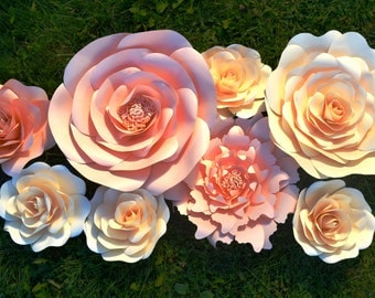 Set of 8 Ivory & Peach paper flowers for paper flower decoration.