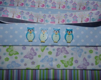 3 BLUE GREEN LILAC WITH BUTTONS AND RIBBON BIRDS PATCHWORK FABRICS