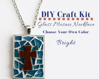Cross Jewelry Making Kit, Mosaic Glass Jewelry Craft Party Activity, Silver Rectangle Bezel, Choose Your Glass Color, includes wooden cross