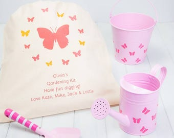 Personalised Pink Childrens Gardening Set With Gift Bag