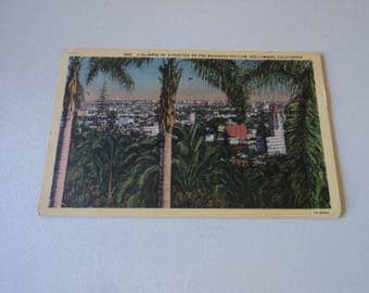 Vintage Hollywood Calfornia Business District Post Card