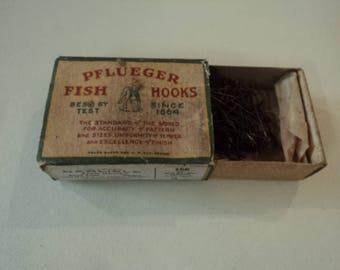Vintage Pflueger Fishing Hooks with box
