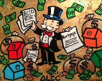 ALEC MONOPOLY Mortgage - Reprod On Paper Archival210m OR Canvas hdprint, Museum Gallery Stretched