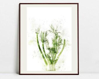 Fennel Watercolor Art Print, Fennel Illustration, Kitchen Wall art, Kitchen Wall Decor, Vegetable Print