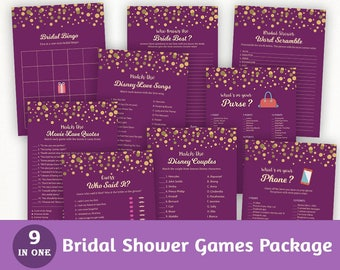 Fun Bridal Shower Games Package, Purple Royal Games Bundle Pack, Printable, Instant Download Kit, Gold Dots, Unique Games Set, BSPKG, A006
