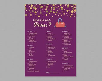 Whats In Your Purse Game Printable, Bridal Shower Activity, Purple Gold, Purse Raid, Purse Hunt, What's in Your Purse, Wedding Shower, A006