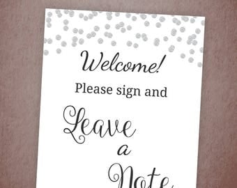 Please Sign and Leave a Note, Silver Confetti Printable Table Sign, Guestbook, Wedding Sign, Name Address, Favor, Bridal Shower Games, A003