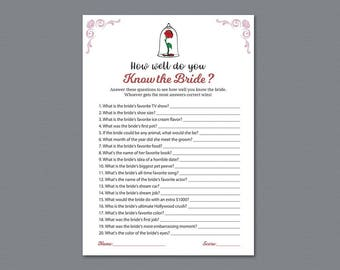 How Well Do You Know the Bride, Beauty and the Beast, Disney Fairy Tales, Who Knows the Bride Best, Bridal Shower Games, Wedding, A013