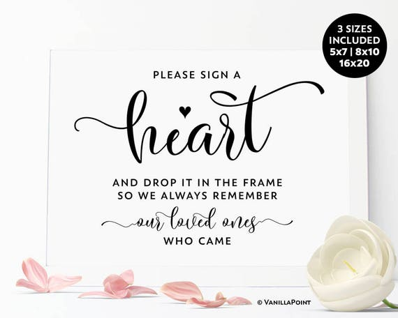 please sign a heart sign printable wedding guest book sign