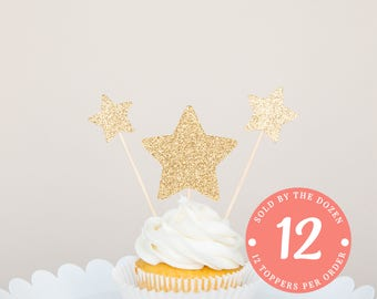 Star Cupcake Toppers | Twinkle Twinkle Little Star Baby Shower | Gender Reveal Party | Baby Reveal | Fourth of July Decorations