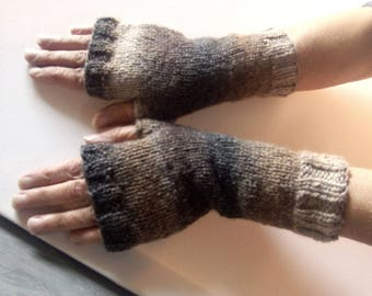Fingerless gloves arm WARMERS hand knitted ombre colors