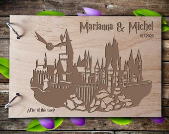 Wedding GuestBook Wood Guest Book Wedding Gift Personalized Guest Book Harry Potter Guest Book Hogwarts Guest Book  Rustic Guest Book Always