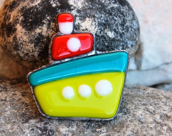 Boat brooch,boat pin,Yacht brooch,Ship brooch,glass brooch,sail pin ,fused glass brooch, summer,fashion,the contact steamer,Summer Outdoors