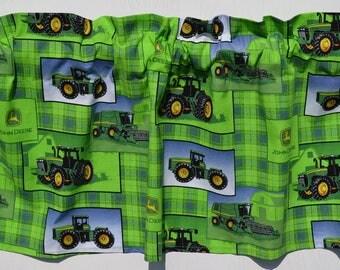 """John Deere, Green, Blue, Tractor, Farm, Window Valance, Window Curtain, Window Topper, Window Treatment, Valance, New, 42""""W x 13""""L"""