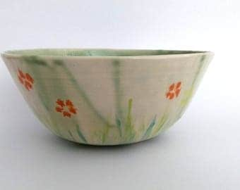 Large ceramic bowl, hand made, hand painted, floral design, serving bowl, home decoration, colorful, yellow, orange, charteuse, green