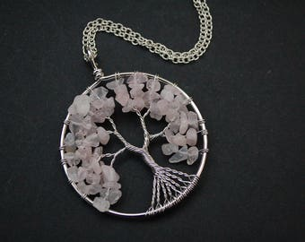 Rose quartz wire wrapped tree of life necklace