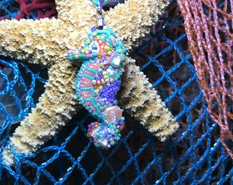 Seahorse bead embroidered
