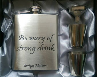 Be Wary of Strong Drink Luxury Edition // Engraved Flask // His Gift  // Fun Flask // Party Favor // Men Flask // 21st Birthday Gift // 7 oz
