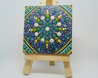 ORIGINAL Hand Painted Mini Mandala on wood block with Mini Easel - Acrylic Painting